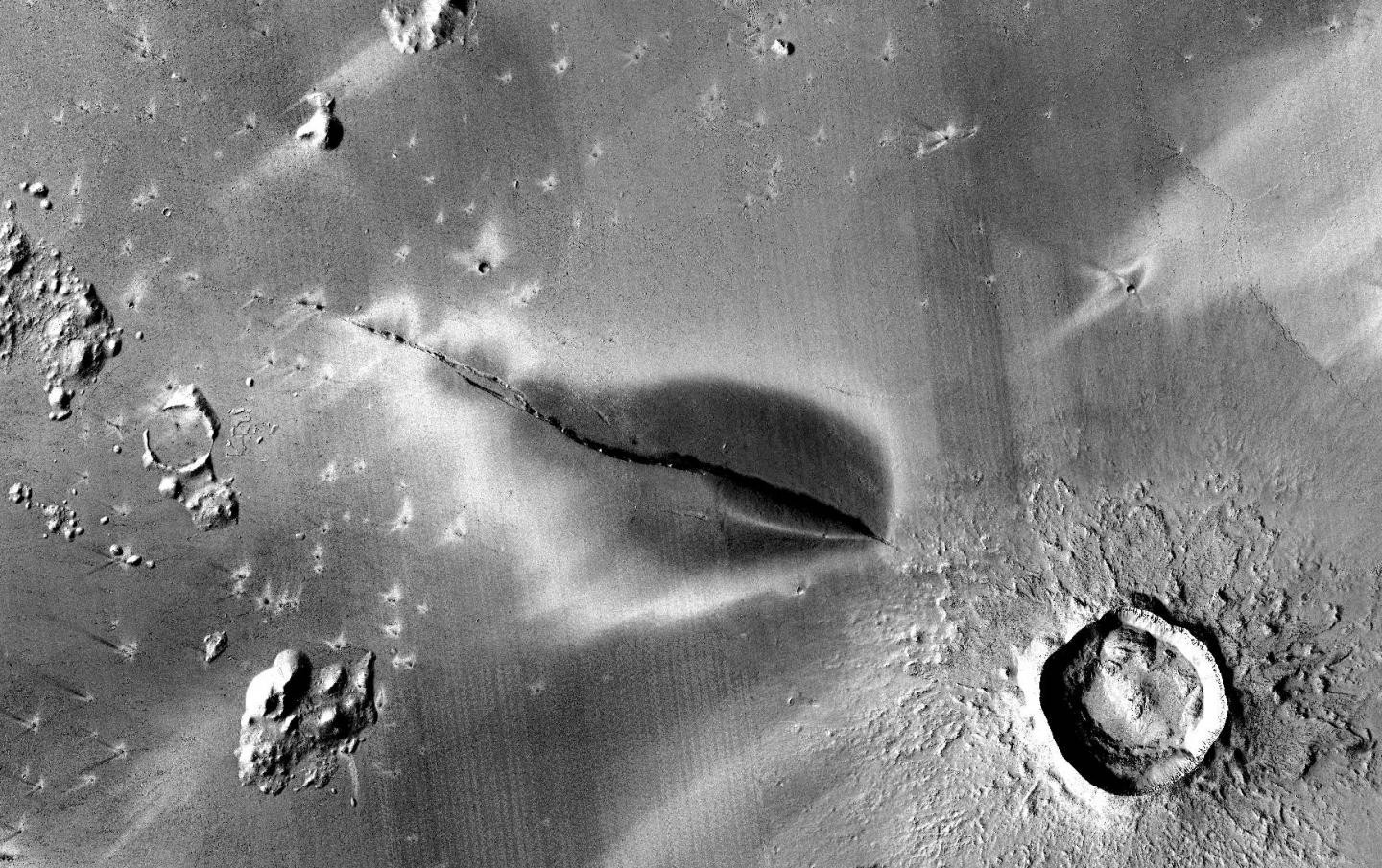 Signs of recent volcanic activity at Cerberus Fossae.